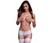 Bílé erotické kalhotky s podvazkovými pásky