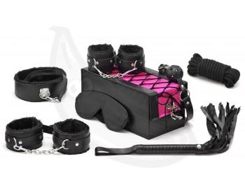 Devine - BDSM sada v kufříku (černo-růžová, 7 pomůcek)