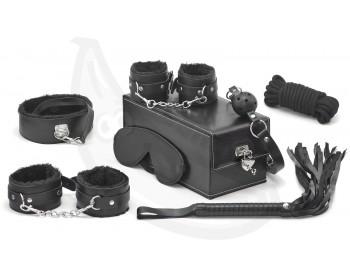 Devine - BDSM sada v kufříku (černá, 7 pomůcek)