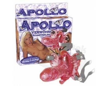 Vibrační motýlek s penisem Apollo strapon