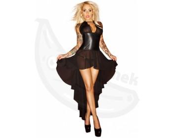 Korzetové šaty s dlouhou asymetrickou sukní